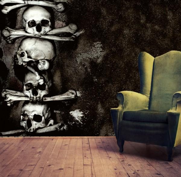 Vlies Tapete XXL Poster Fototapete Knochen Totenkopf