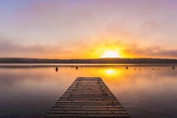 Magnettafel Pinnwand XXL Bild Natur See Steg Sonnenuntergang