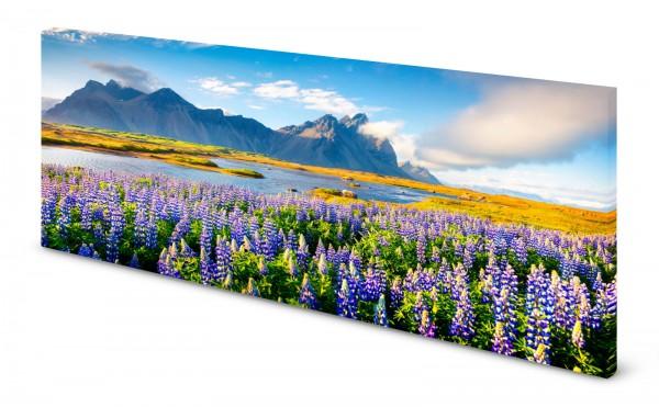 Magnettafel Pinnwand Bild Blumen Berge Lupinen See lila gekantet