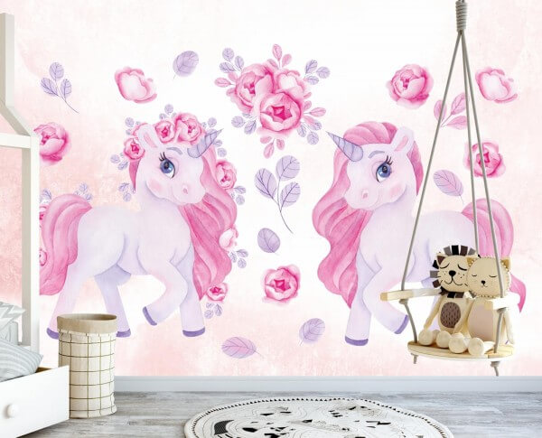 Vlies Tapete XXL Poster Fototapete Kinderzimmer Einhorn Blumen rosa