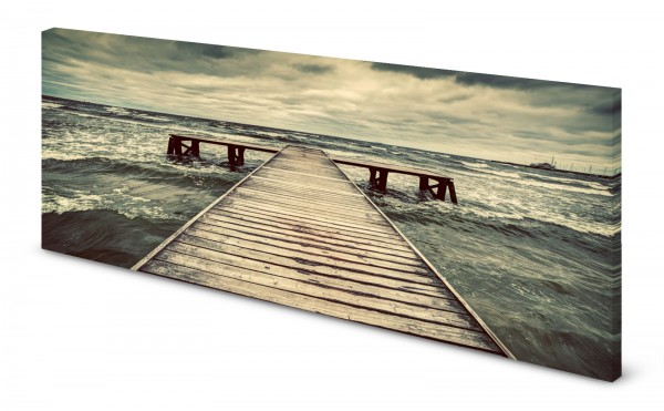 Magnettafel Pinnwand Bild Natur rauhe See Meer Steg gekantet