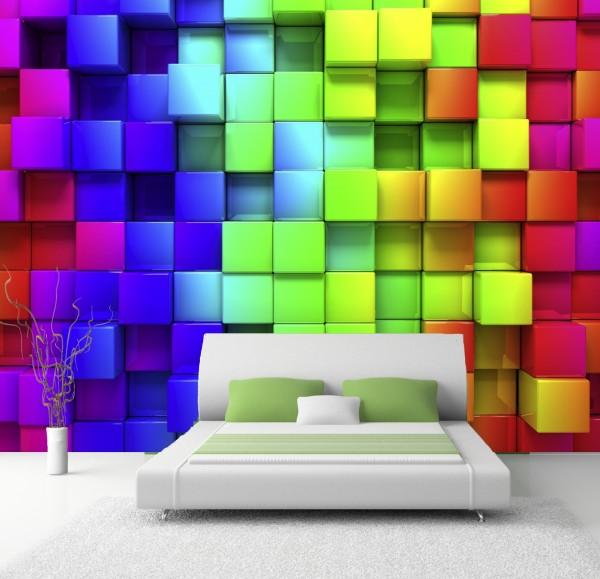 Vlies Tapete Poster XXL Fototapete 3D Effekt Muster Wuerfel bunt