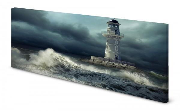 Magnettafel Pinnwand Bild Leuchtturm rauhe See Meer gekantet