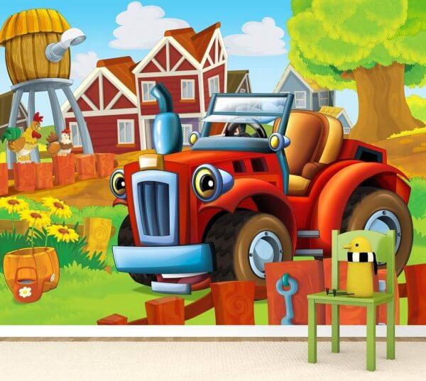 Vlies XXL-Poster Fototapete Tapete Kinder kleiner roter Traktor ...