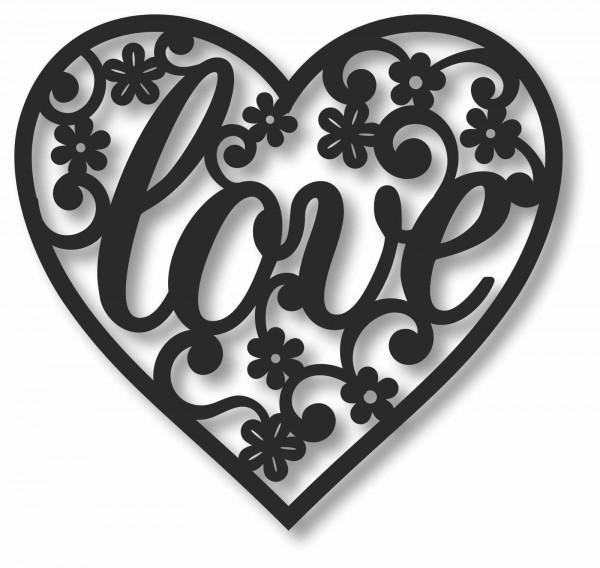 Bild Wandbild 3D Wandtattoo Acryl Mobile Cut-Out Love Herz