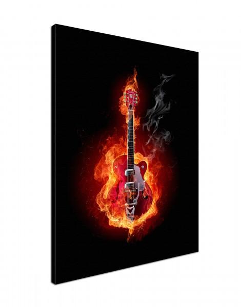 Leinwandbild Burn Gitarre in Flammen