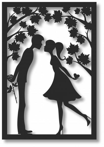 Bild Wandbild 3D Wandtattoo Acryl Retro Liebespaar Paar Romantik