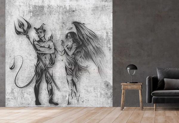 Vlies Tapete Betonoptik Poster Fototapete Tribal Engel Teufel