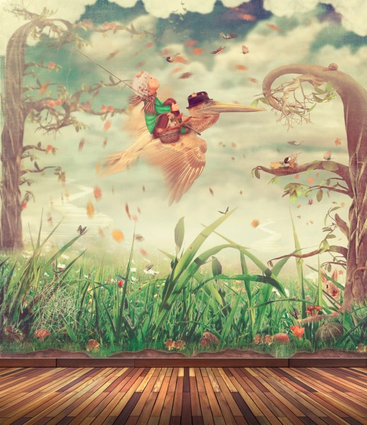 Vlies Tapete Poster Fototapete Fantasy Retro Vintage Reise