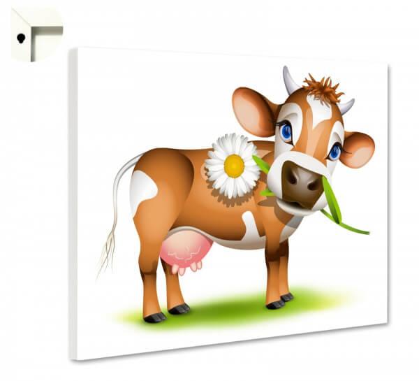 Magnettafel Kinder Kuh in braun mit Gänseblümchen