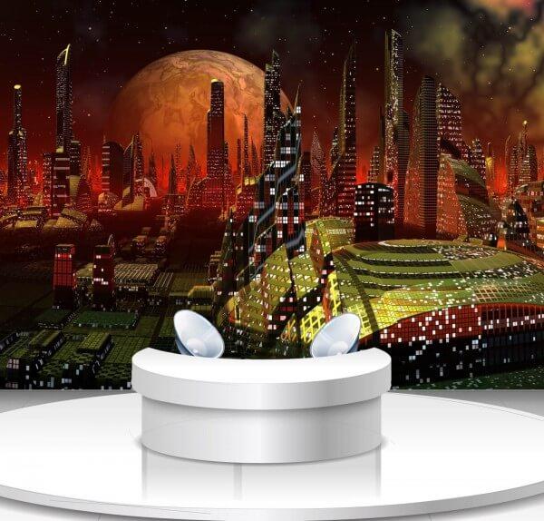 Vlies Tapete Poster Fototapete Science-Fiction Weltraum Stadt