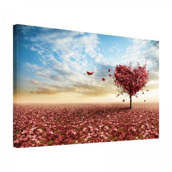 Leinwand Bild edel Natur Herz Baum mit rotem Laub