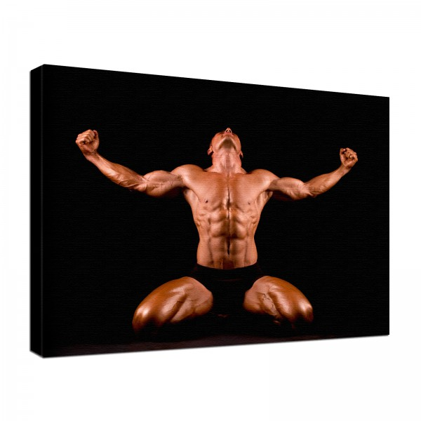 Leinwand Bild edel Fitness Bodybuilding Victory Front