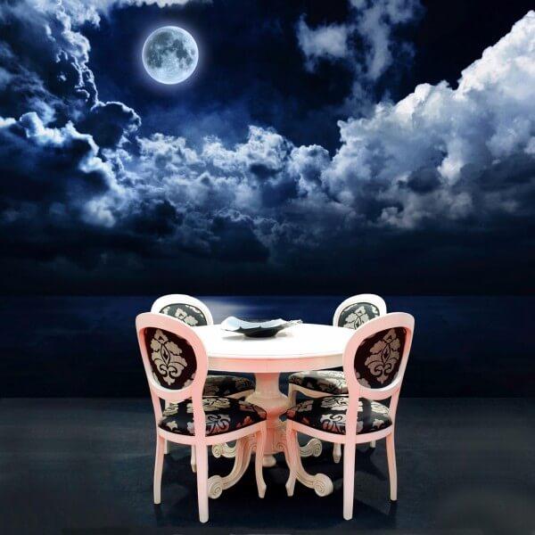 Vlies Tapete Poster Fototapete Nacht Vollmond Wolken Meer