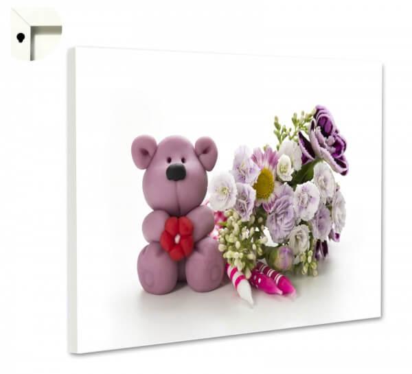 Magnettafel Pinnwand mit Motiv Teddy Bär & Blumen