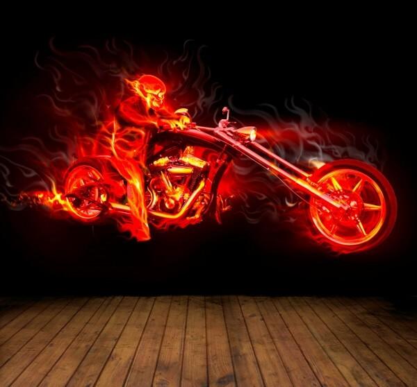 Vlies XXL Poster Fototapete Tapete Flammen Skelett Bike Motorrad