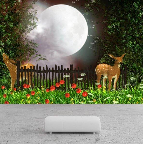 Vlies Tapete Poster Fototapete Fantasy Märchen Garten Vollmond