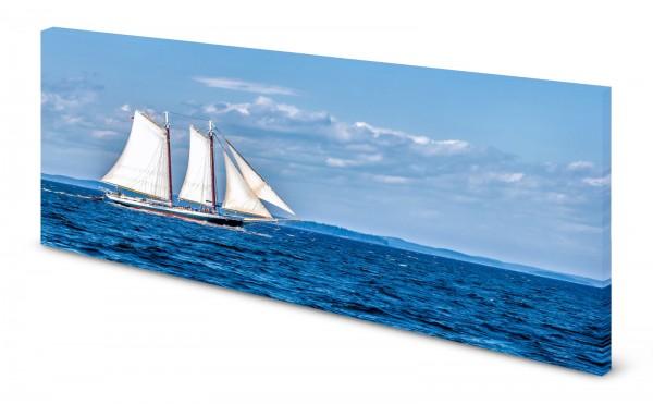 Magnettafel Pinnwand Bild Panorama Segelboot Meer gekantet