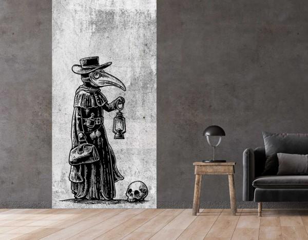 Vlies Tapete Betonoptik Poster Fototapete Tribal Gothic Pest Arzt Maske