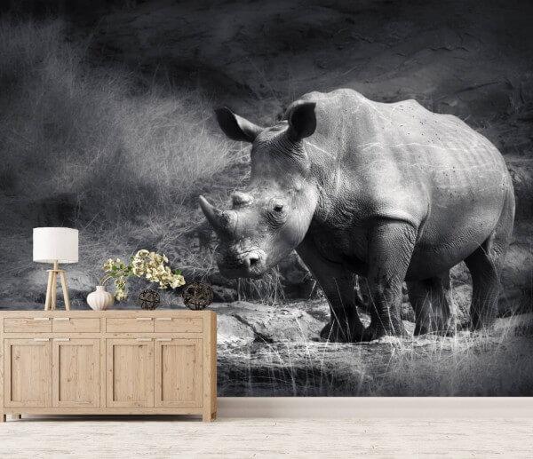 Vlies Tapete XXL Poster Fototapete Afrika Wildnis Nashorn
