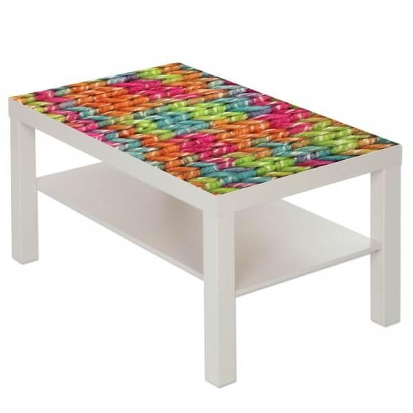 Couchtisch Tisch mit Motiv Bild Muster Strickmuster Maschen Wolle 4