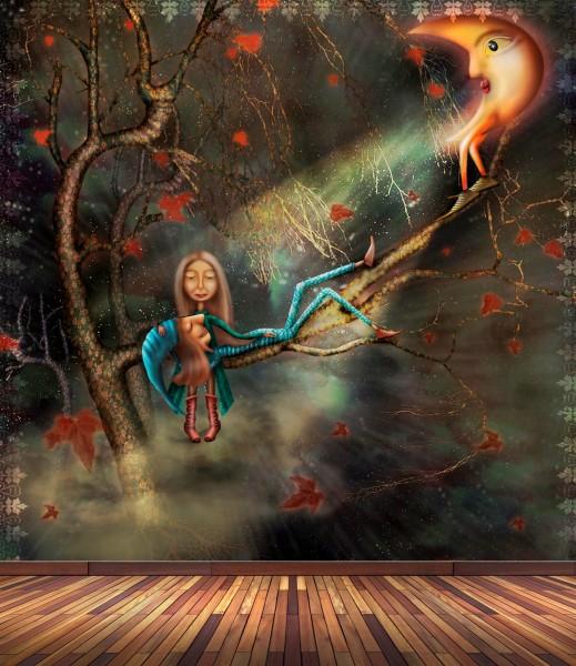 Vlies Tapete Poster Fototapete Fantasy Mond Wichtel