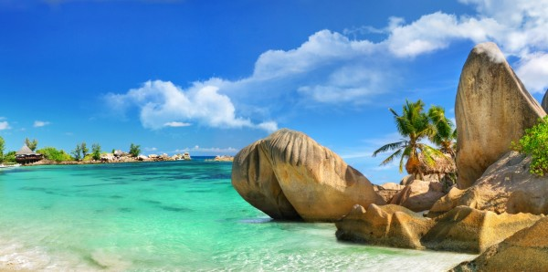Magnettafel Pinnwand Bild XXL Panorama Seychellen Insel Strand