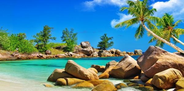 Magnettafel Pinnwand Bild XXL Panorama Strand Seychellen Felsen