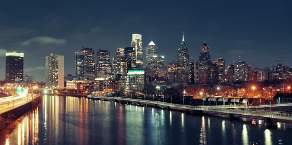 Magnettafel Pinnwand Bild XXL Panorama Philadelphia Skyline