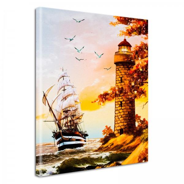 Leinwandbild Gemälde Leuchtturm