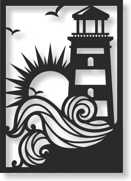 Bild Wandbild Wandtattoo Acryl Mobile Leuchtturm Meer Sonne