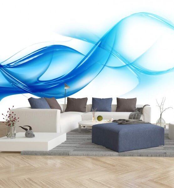 Vlies XXL-Poster Fototapete Muster Wellen in blau und weiß