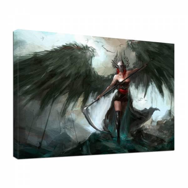 Leinwand Bild edel Fantasy Gothic Hell schwarze Kriegerin