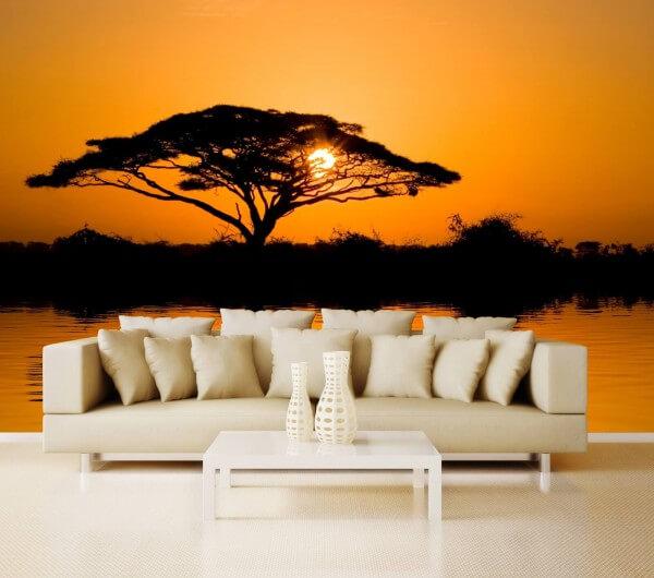 Vlies XXL-Poster Tapete Fototapete Natur Afrika Sonnenuntergang Affenbrotbaum