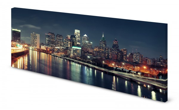 Magnettafel Pinnwand Bild Panorama USA Philadelphia Skyline gekantet