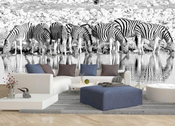 Vlies Tapete XXL Poster Fototapete Panorama Zebra Herde