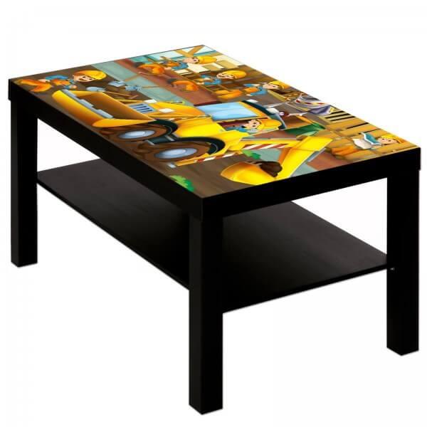 Couchtisch Tisch mit Motiv Bild Kinder Bauarbeiter Bagger
