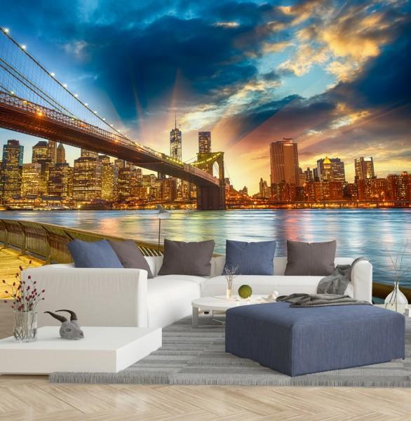 Vlies Tapete XXL Poster Fototapete USA New York Brooklyn Bridge