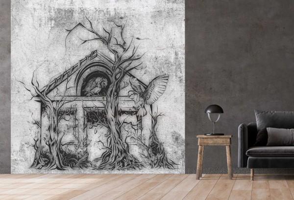 Vlies Tapete Betonoptik Poster Fototapete Tribal Gothic Haus Spukhaus