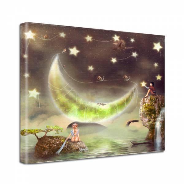 Leinwand Bild edel Fantasy Mond Sterne