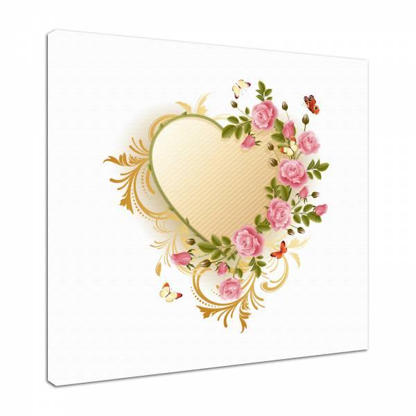 Leinwand Bild edel Blumen Rosenherz