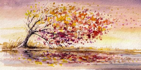 Magnettafel Pinnwand Bild XXL Panorama Aquarell Baum Herbst