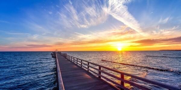 Vlies Tapete Poster Fototapete Horizont Panorama Meer Sonne Steg