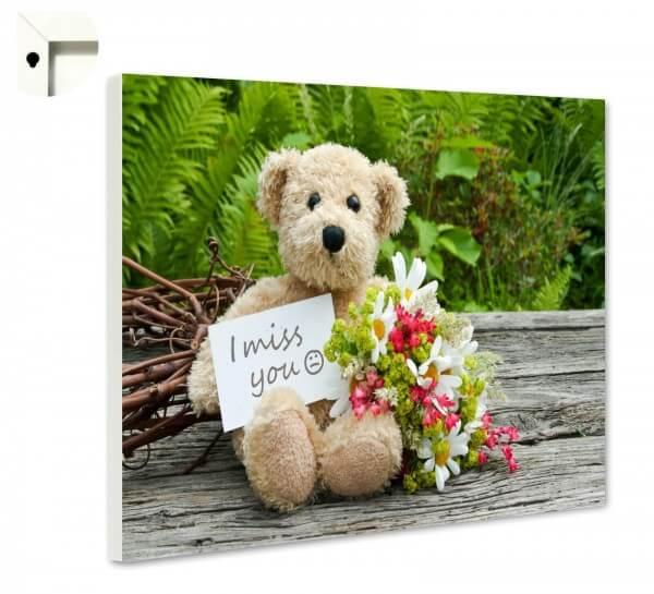 Magnettafel Pinnwand mit Motiv Teddy & Liebe Ich vermisse dich