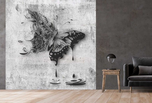 Vlies Tapete Betonoptik Poster Fototapete Tribal Schmetterling