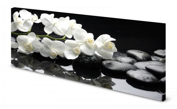 Magnettafel Pinnwand Bild Orchideen weiß Steine Zen gekantet