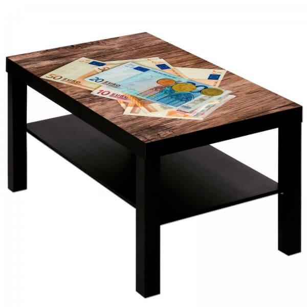 Couchtisch Tisch mit Motiv Bild Geld auf Holz