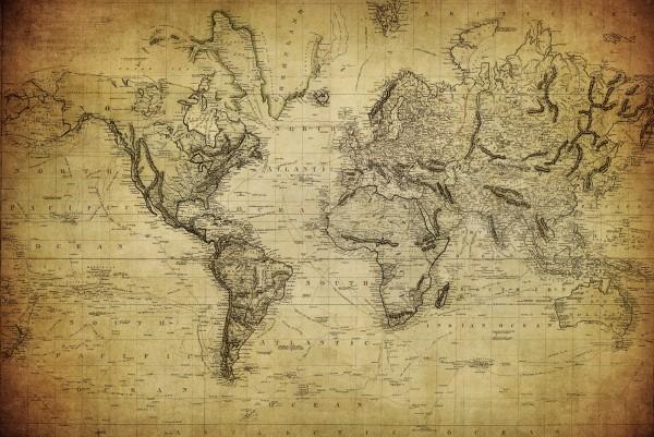 Magnettafel Pinnwand XXL Magnetbild Weltkarte Antik