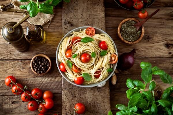 Magnettafel Pinnwand XXL Bild Pasta Spaghetti Veggie rustikal