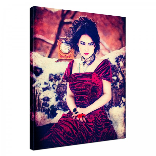 Leinwand Bild edel Gothic black Madame